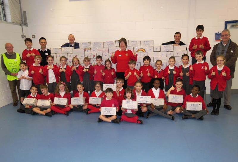 Falkland School Shoebox Collection   - collecting the shoeboxes at their last School Assembly before the Christmas break