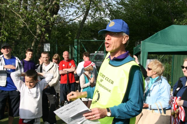 May 2012 Tommy McLafferty Football Tournament for Homeless communities - Mike announcing the results