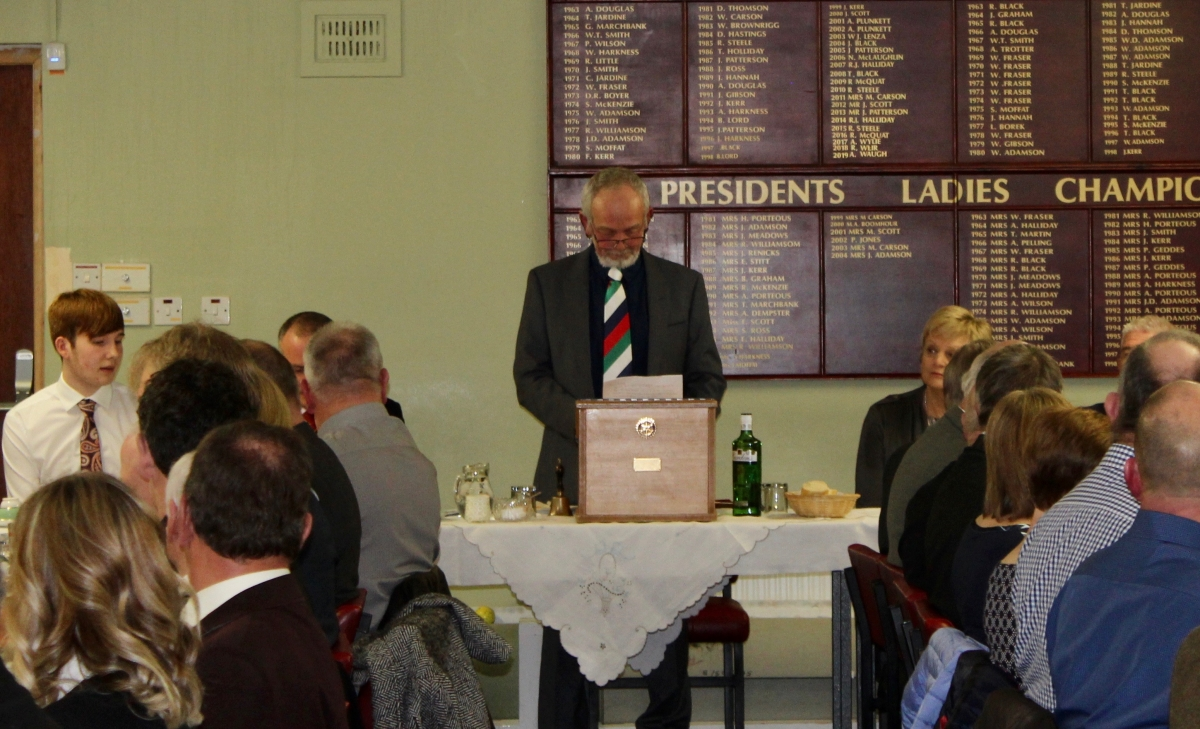 Annual Burns Supper 15th January 2020 - Secretary Stewart Lee welcoming and introducing guests.