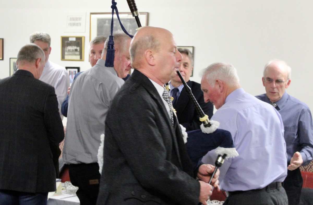 Annual Burns Supper 15th January 2020 - Wullie Prentice piping in the Haggis.