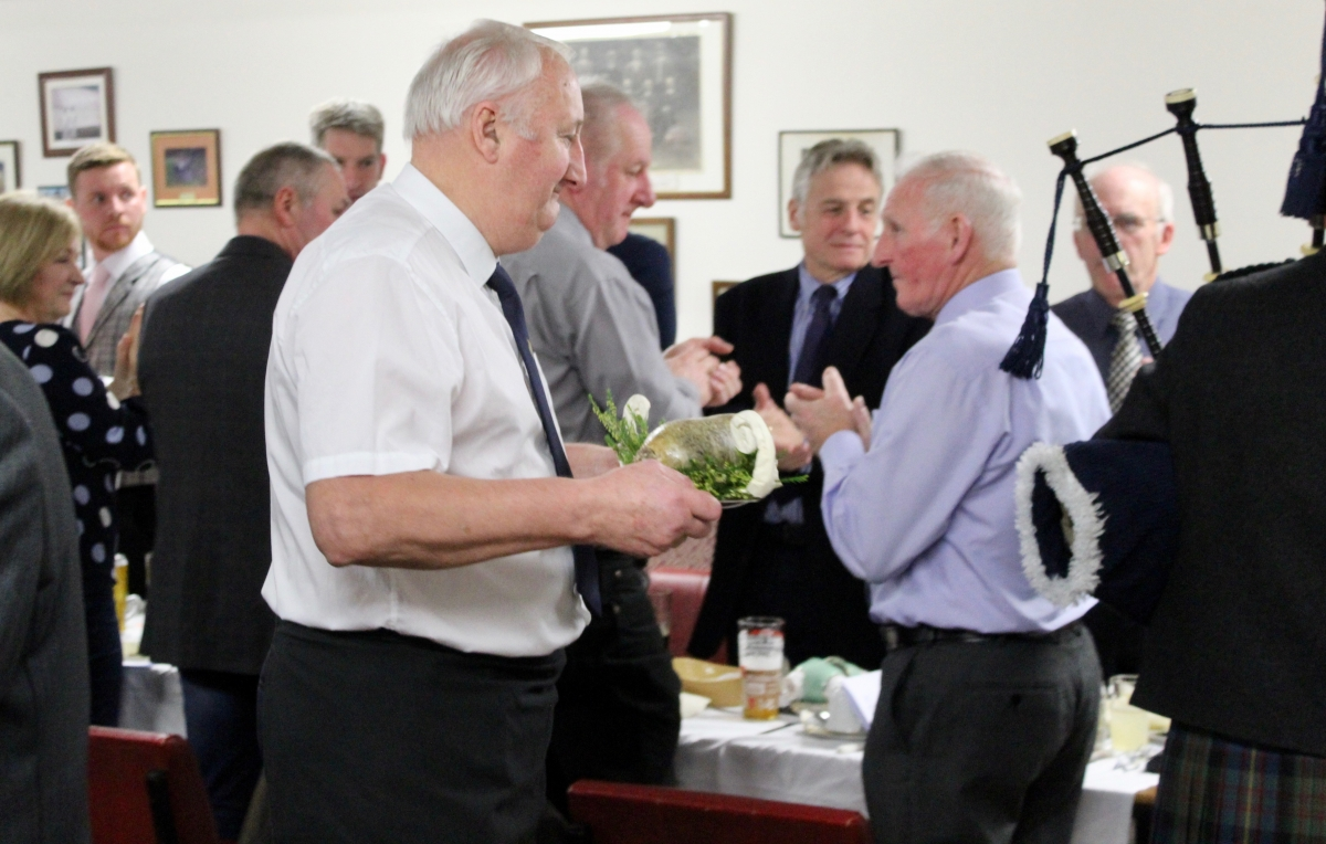 Annual Burns Supper 15th January 2020 - Alec Waugh presenting of the Haggis.