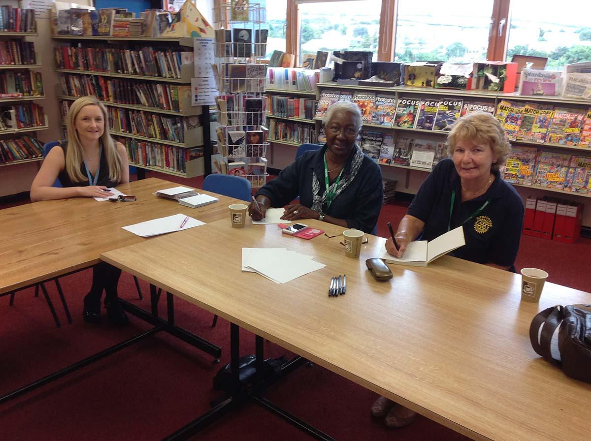 Youth - Rotarians Pam Cox and Pam Hyde with Sabrina Davis of the Ilfracombe Academy English Department.
