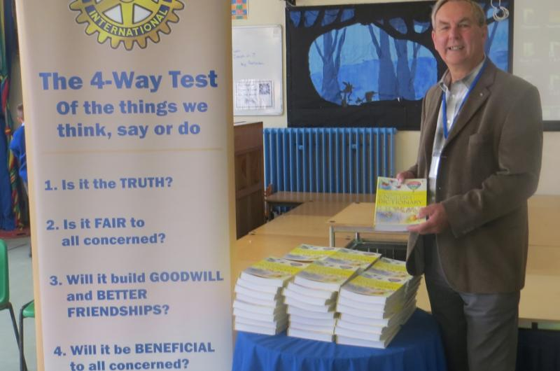 Community & Vocational - Rotarian Martin gives out Dictionaries 4 Life and talks to local primary school children about Rotary.