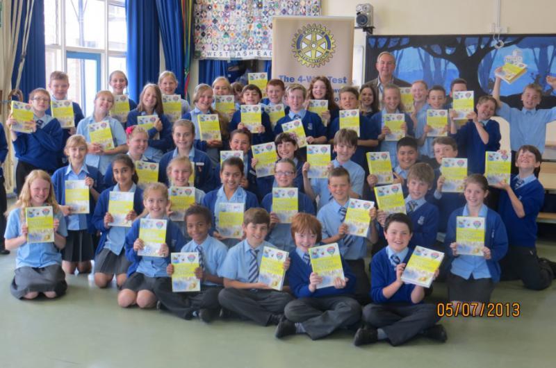 Community & Vocational - Ashtead primary school children receive copies of Dictionaries 4 Life.