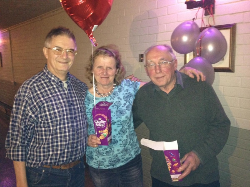 Valentines Day Massacre. (Skittles Evening and Supper) - President Philip congratulates the winners, Sue and Sam.
