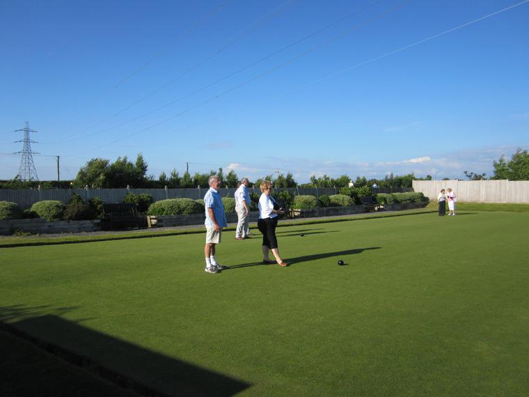 BLACKPOOL SOUTH ROTARY CLUB CROWN GREEN BOWLING COMPETITION - 2014 - The start of the match.