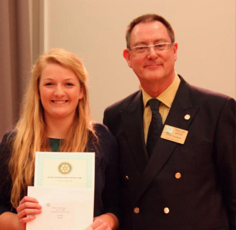 Isobel Leventhorpe winner of the vocal section with DG Trevor Sayer