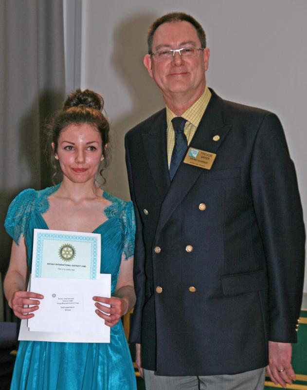 Olivia de Costa winning instrumentalist (Cello) with DG Trevor Sayer.