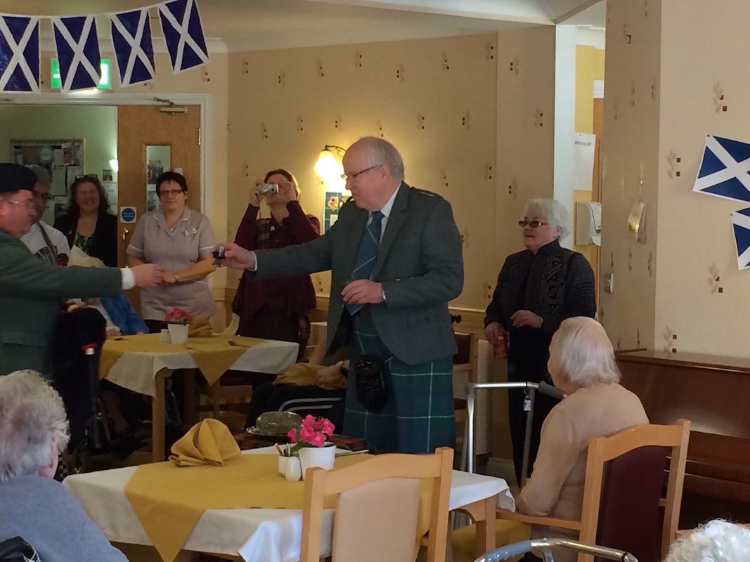 Scottish Lunch Tor-Na-Dee Care Home, 30Jan17 - Toast to the Piper.