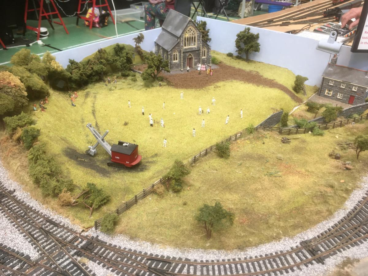 Ross Model Railway Exhibition 2019 - Detail- cricket game and wedding