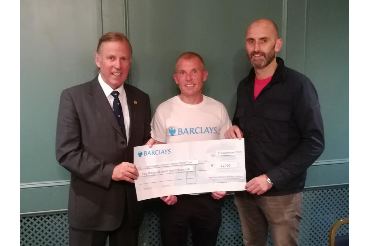 Bishop Auckland Rotary Club Eleventh Annual Golf Day 2019 raise £5400 for local charities! - Rotarian Bill Robson (Immediate Past President) , Michael Poole (from Barclays) and Mark Solan (from The Solan Connor Fawcett Family Trust)