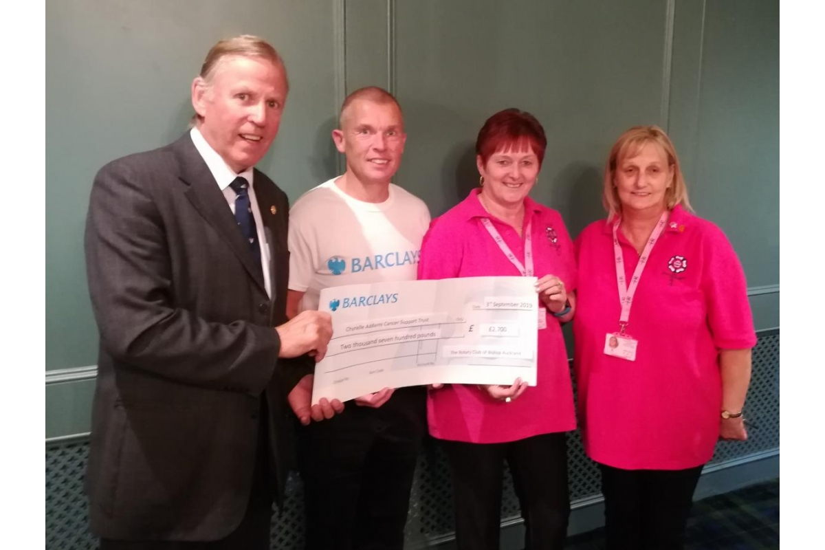 Bishop Auckland Rotary Club Eleventh Annual Golf Day 2019 raise £5400 for local charities! - Rotarian Bill Robson (Immediate Past President) , Michael Poole (from Barclays) , Trish Greensmith & Allison Danby (from The Chyrelle Adams Cancer Trust)