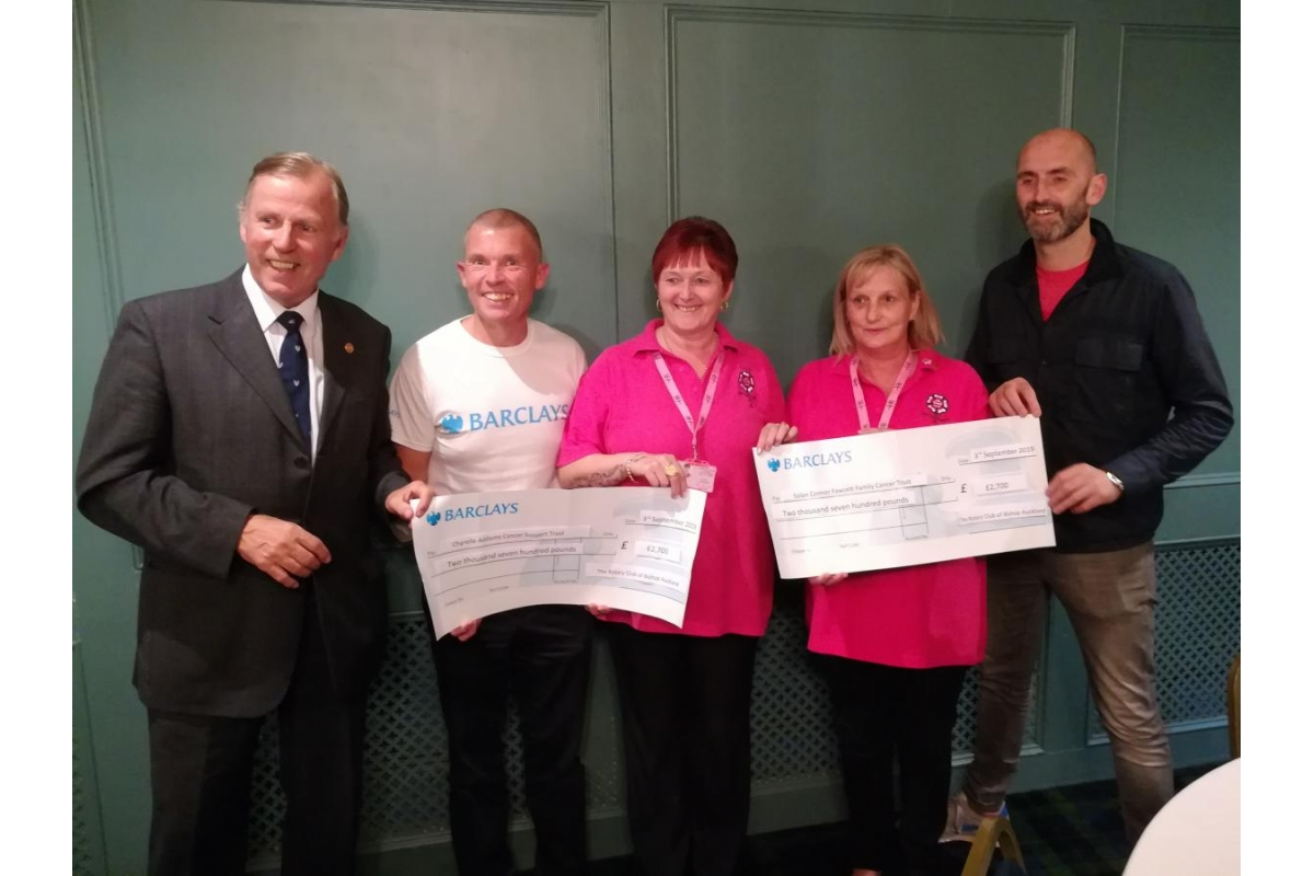 Bishop Auckland Rotary Club Eleventh Annual Golf Day 2019 raise £5400 for local charities! - Rotarian Bill Robson (Immediate Past President) , Michael Poole (from Barclays) , Trish Greensmith & Allison Danby (from The Chyrelle Adams Cancer Trust) and Mark Solan (from The Solan Connor Fawcett Family Trust)