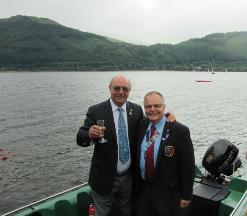 Launch of Calvert Trust Boat - Immediate Past District Governor David Simpson with District Governor Kevin Walsh