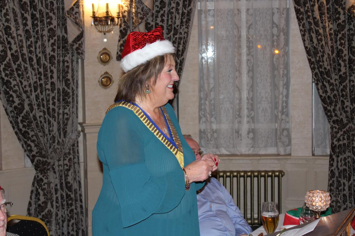 Annual Christmas Dinner 2018 - President Edith at Christmas dinner 2018
