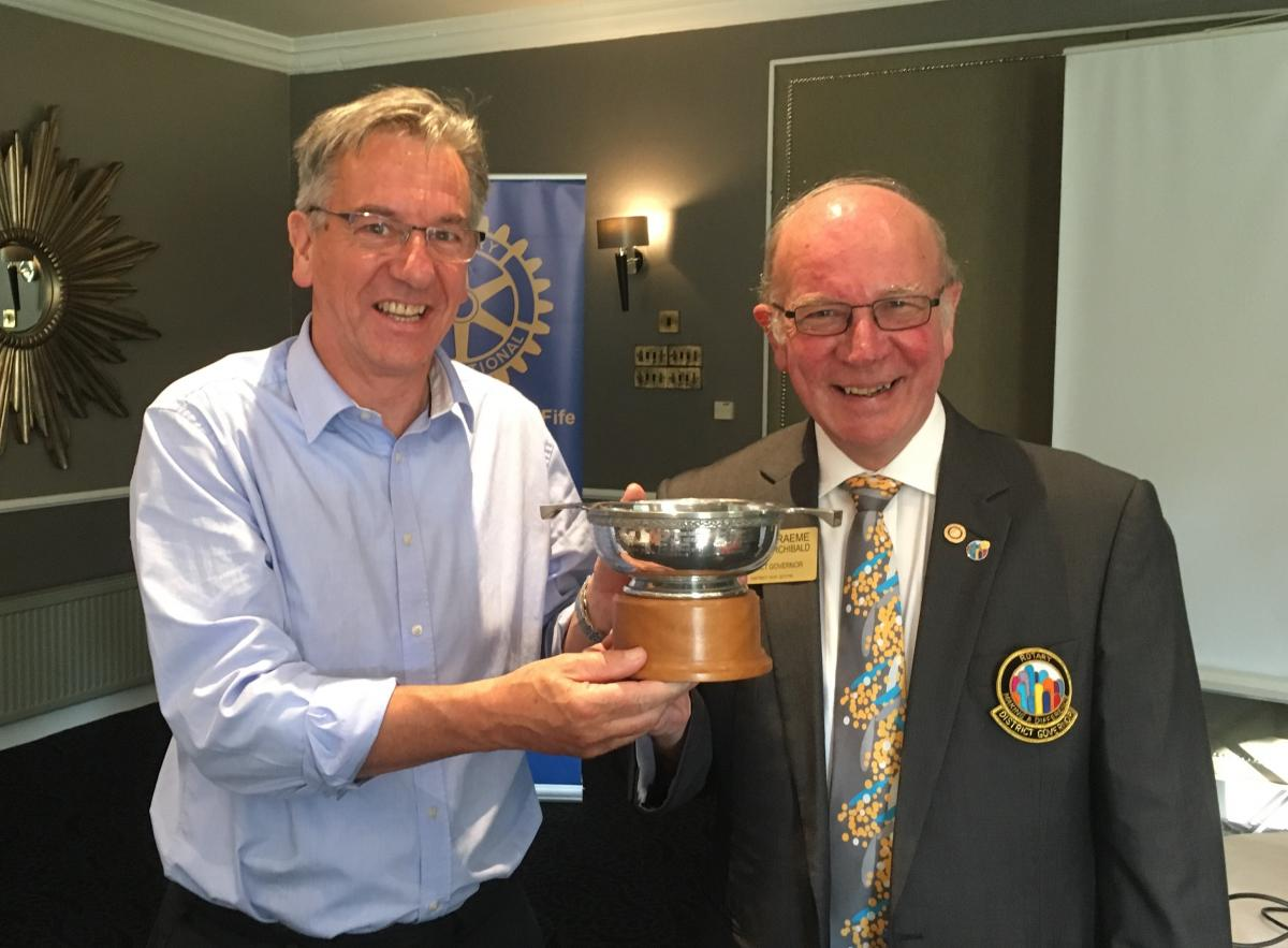 District Governor visit - Immediate Past President Dave Riddell was presented with the Ken Forbes Golf Trophy by DG Graeme Archibald