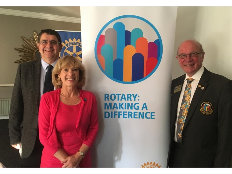 District Governor visit - West Fife President Neil Spriddle, Carnegie Club President Ann Sloan and District Governor Graeme Archibald