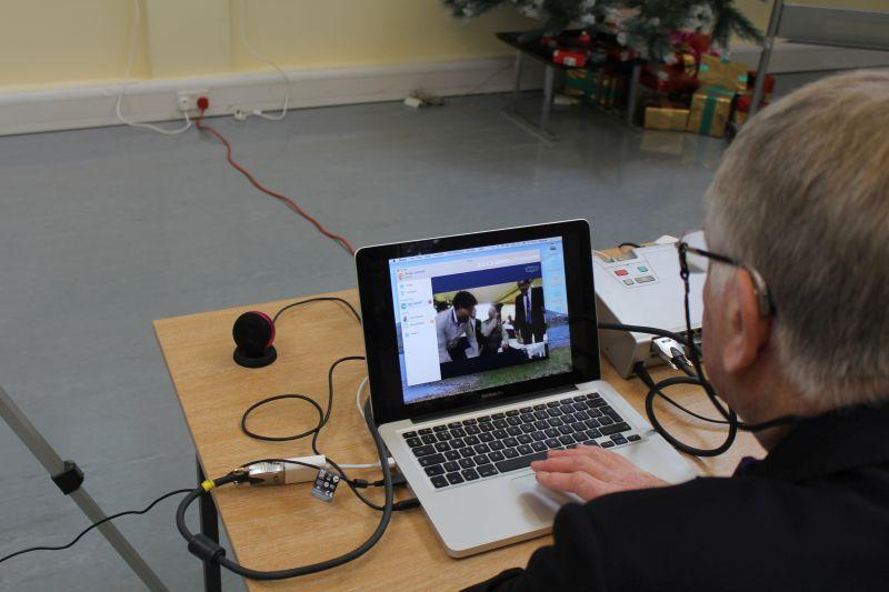 Samson Centre Project - Guildford Rotarian Rod Cartwright sets up a Skype link with Rotary Kolkatra (Calcutta)