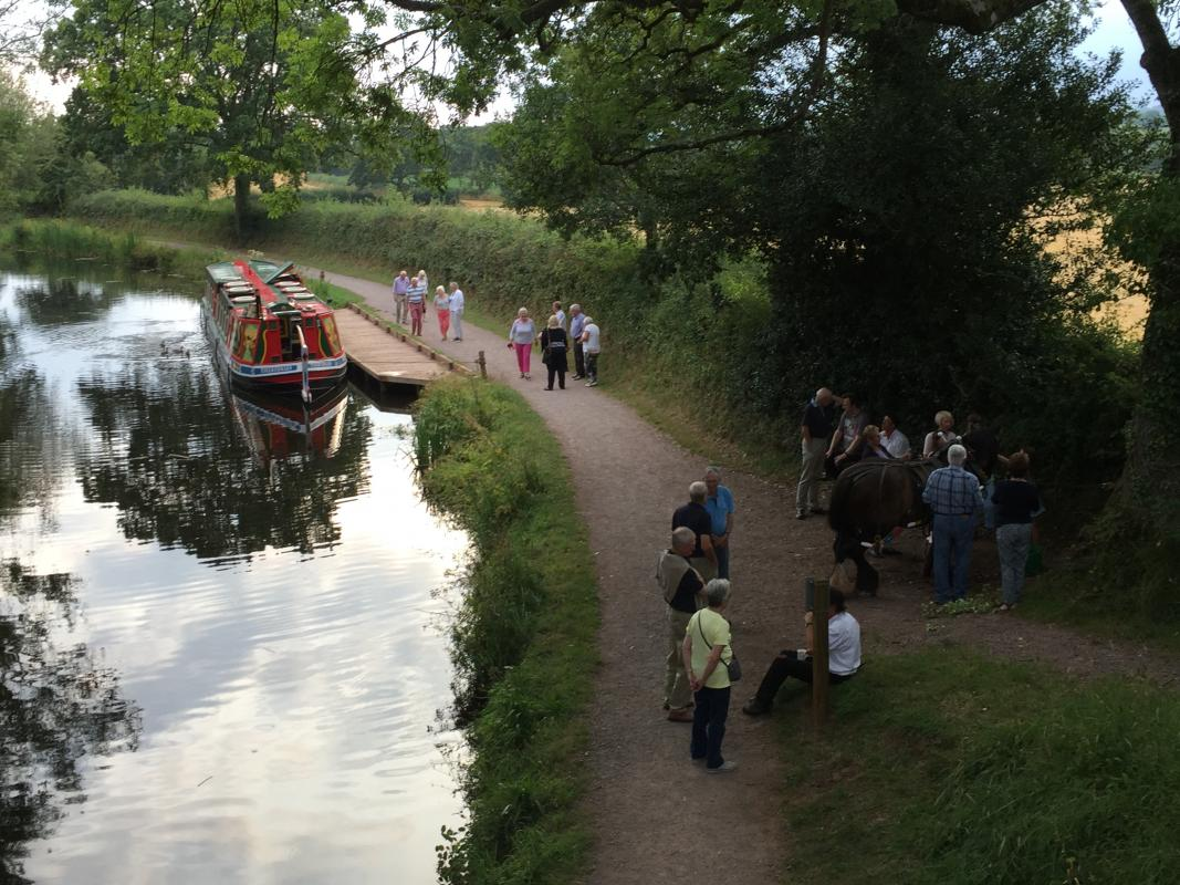 Wellington Rotarians and friends take a trip on the Grand Western Canal - Time to stretch our legs – especially Henry who has been doing all the hard work pulling the barge.