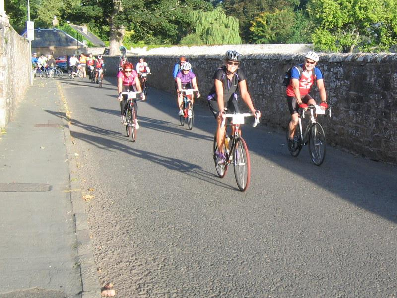 31 August 2013 Beat the Borders Challenge Event - ...and they're off - the first wave of cyclists leave at 7.30(ish)