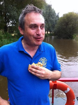 2nd Newbury Cubs - 2014 Barge Trip - tucking into a bacon buttie rustled up by the cubs