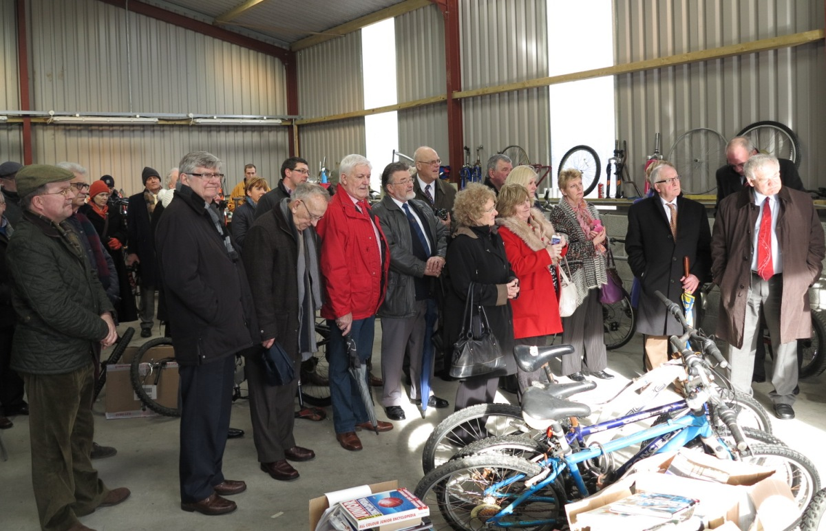 Project - Bikes4Africa - Rotarians from a number of clubs together with DG Phillip Beggs, RIBI President Peter & Di King, gather in the Bike Shed to see the ongoing work of Bike Refurbfishment