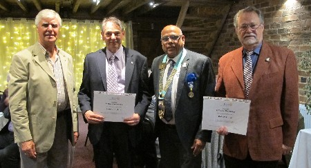 President's Night and 25th Anniversary of Charter Celebration - District Governor Paul Jaspal has presented 25 years service certificates to: L-R : Keith Wilson, Andrew Hopkins, Robert Young