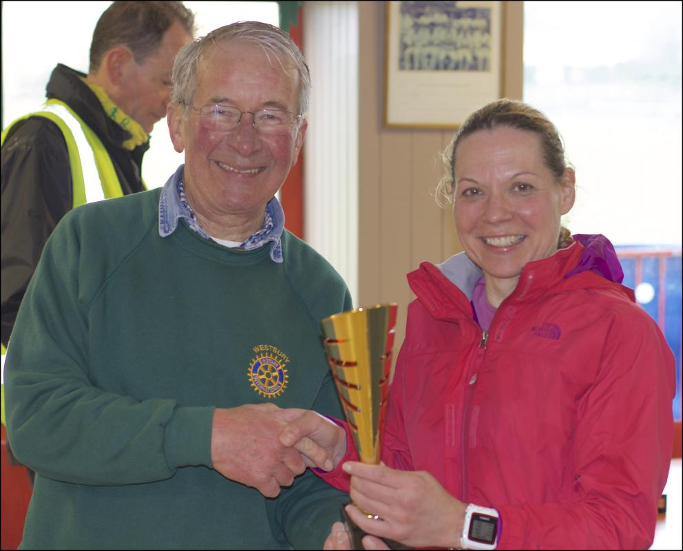 Imber Ultra Marathon - Another brave lady receiving her trophy from David.  Winner in a slightly younger category perhaps.