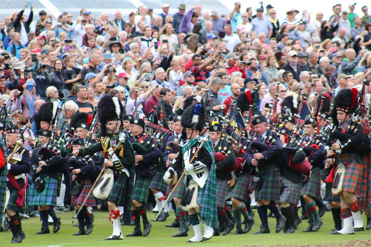 Royal Braemar Highland Gathering 1st September 2018  - Massed pipes & Drums