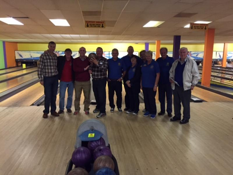 Kirkham Rotary ten pin bowling District Champions 2016 - The teams of Fleetwood and Kirkham.