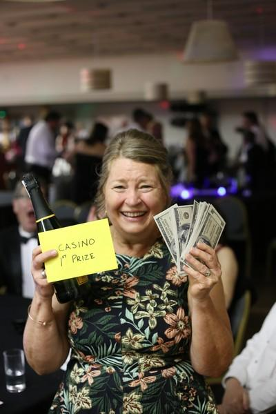Runcorn Rotary Celebration 70th Dinner/Dance - Rtn Ros the winner of the Casino prize at the end of the night