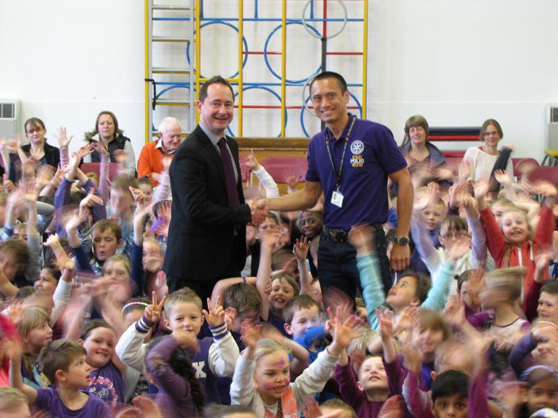 Purple Clothes Day WINCHCOMBE Primary School - A big thank you from Rotarian Simon Tang