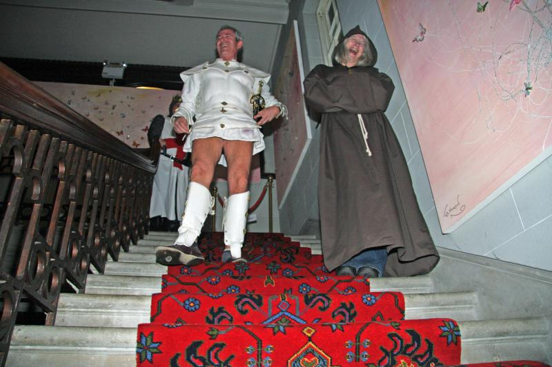 Away Weekend - Whilst another white knight in mini skirt seeks the comfort of Friar Gill the wandering monk