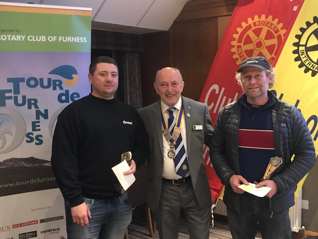 Tour de Furness Presentation Evening - Chris Chinn (2nd Senior Prize) (r). Lee Drury (l) (1st Senior Prize) a member of the ORSTED (windfarm) team.