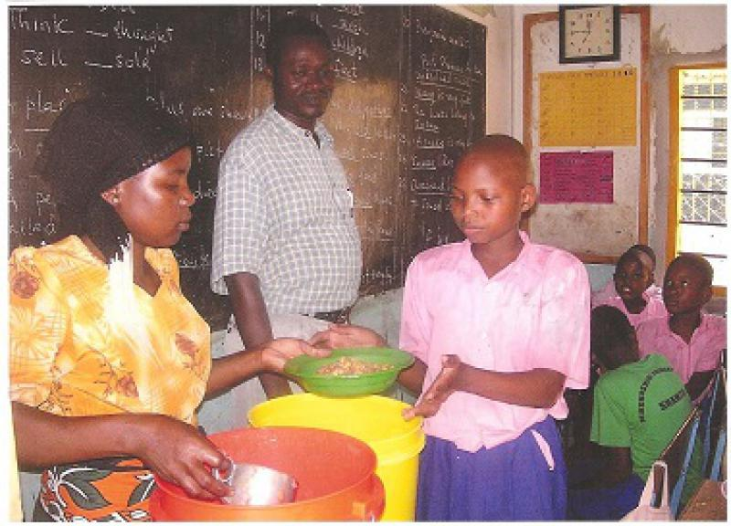 Our Work in Kenya - Maize and beans being served to the older pupils.
