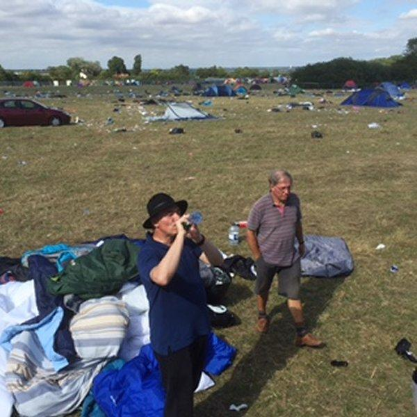 V Festival Clear Up - Helder checking out something?