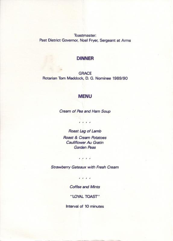 Our Club History - Inaugural Meeting - Menu