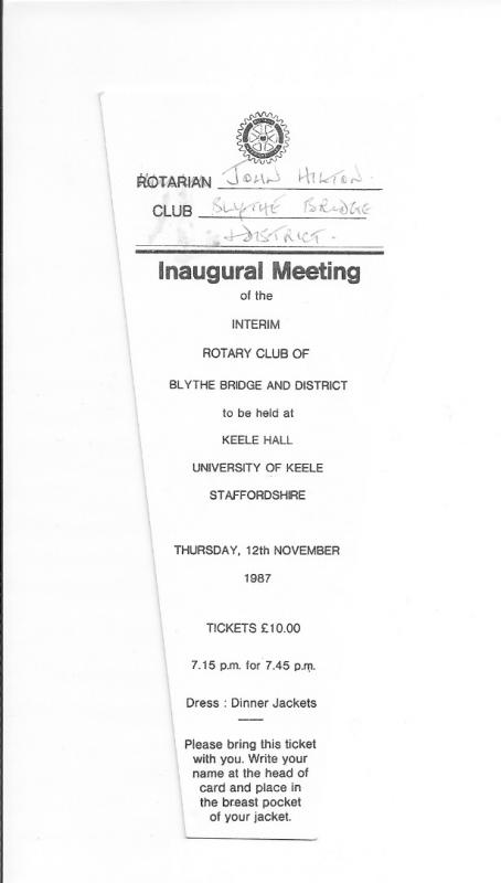 Our Club History - Inaugural Meeting - Ticket