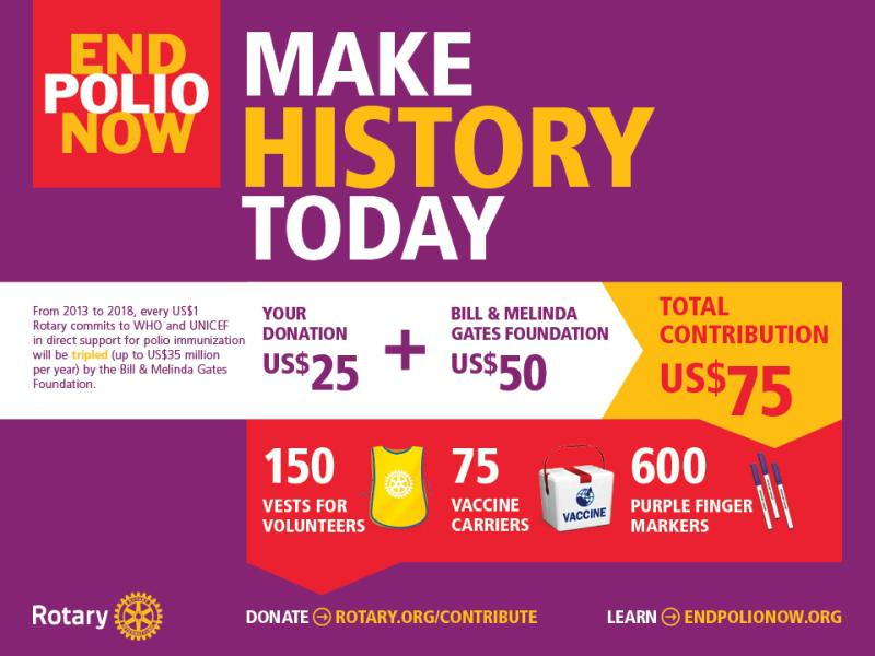 End Polio Now - by Bill Gates Foundation until 2018: Every pound you donate via Rotary will realise 3 pounds.