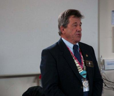 Newent Interact Club - D.G. Martin stresses the importance of Young People and Interact to the Rotary Movement.