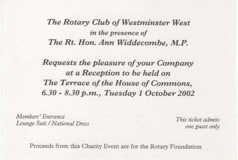 Club History - Dinner Hosted by Rt. Hon. Ann Widdecombe, M.P.