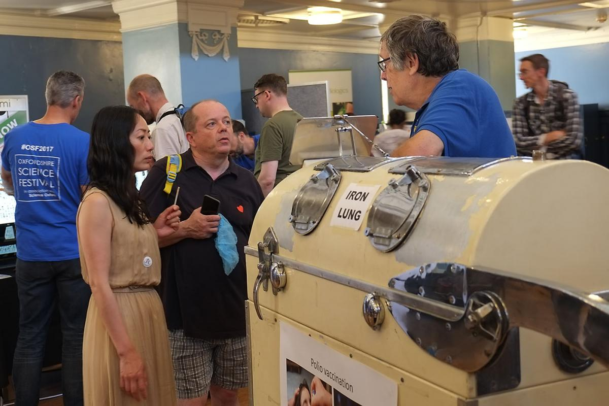 Turning Purple for Polio at Oxfordshire Science Festival - John Biggs explains how machines like these saved hundreds of children's lives during the polio epidemic of 1958