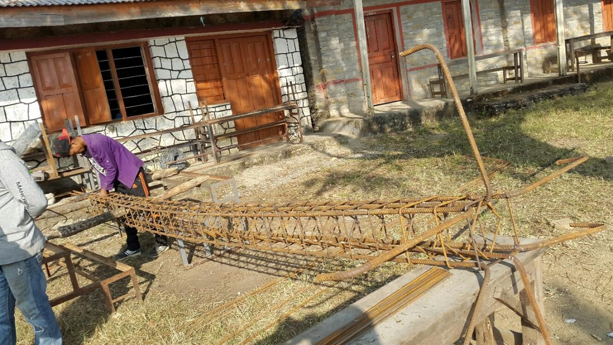 Nepal school project - Iron works for the new building