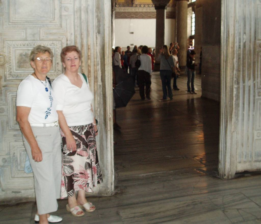 Istanbul Cultural Visit - Wilma and Flick at the Marble door insde the Haghia Sophia