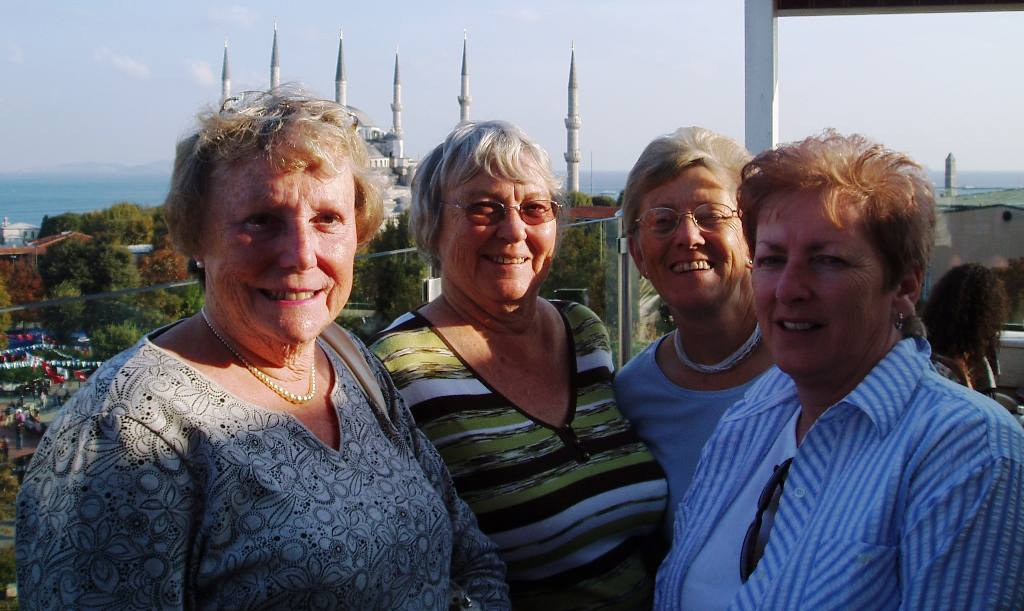 Istanbul Cultural Visit - Janet,Jan,Flick & Wilma with the Blue Mosque in the background