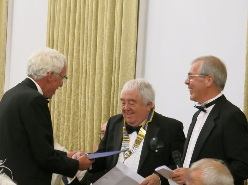John Robinson – Paul Harris Fellowship award  - the presentation of the award to John Robinson by President of the Rotary Club of Hexham Peter Oliver accompanied by Past President Michael Saxon