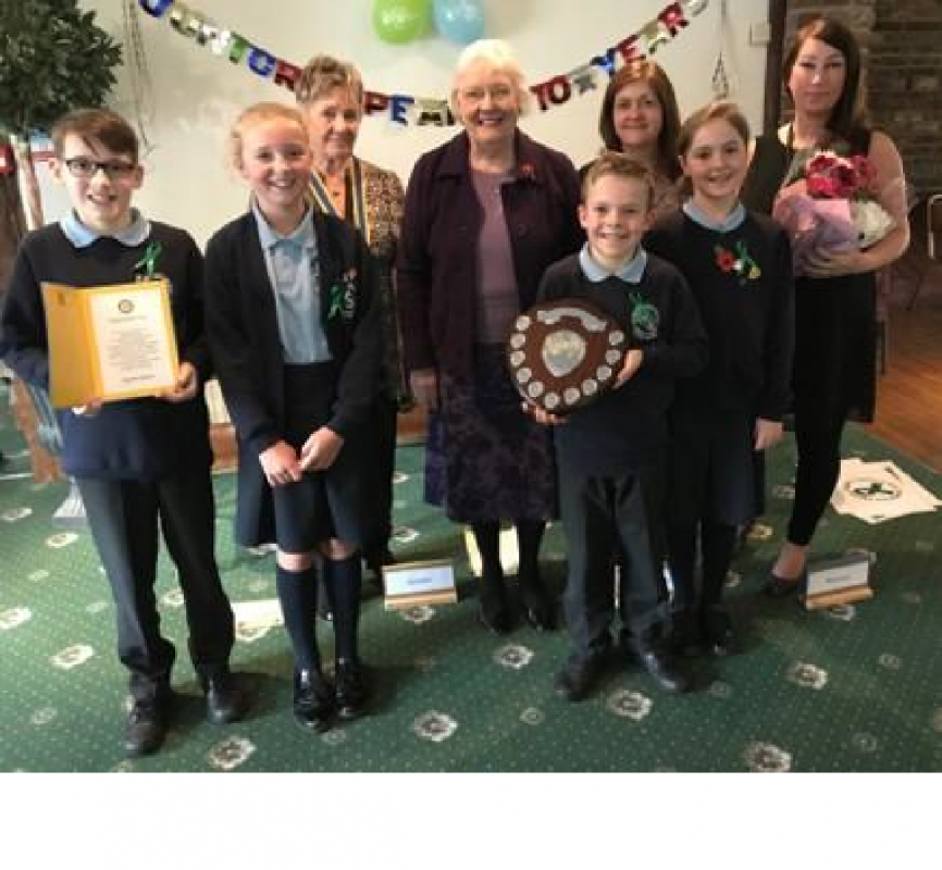 Wigan Rotary Junior Speaks 10th Anniversary Celebrations - The children  with President Gwyneth Millard, Doreen Hoddinott and two teachers.