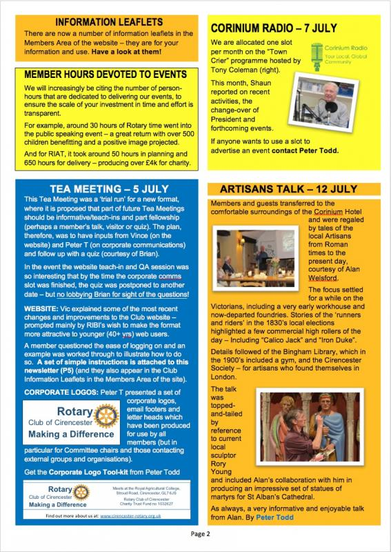 Cirencester Rotary Club Newsletter - July 2017 -