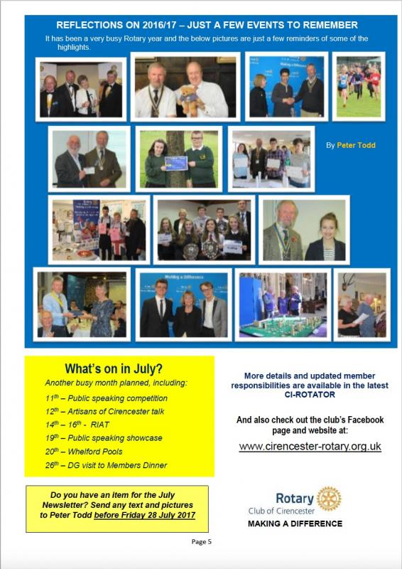 Cirencester Rotary Club Newsletter -