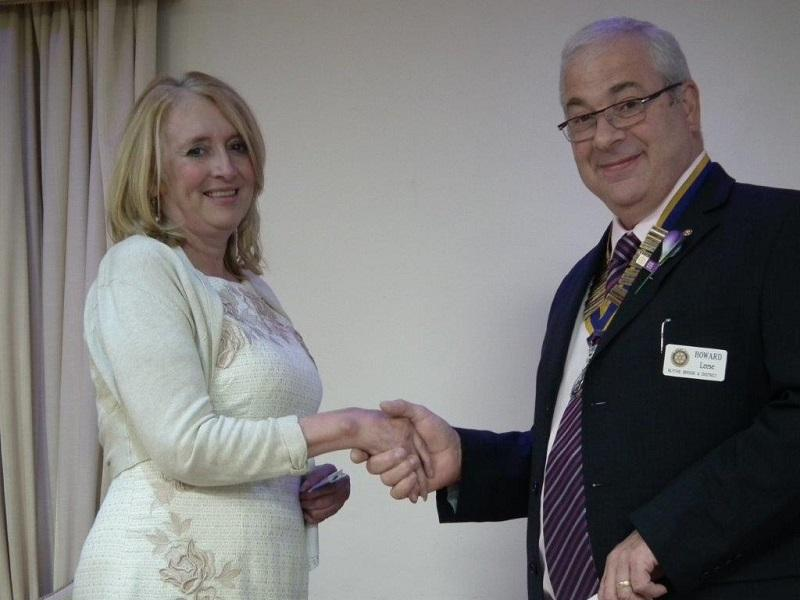 New Members - Karen being welcomed by President Howard